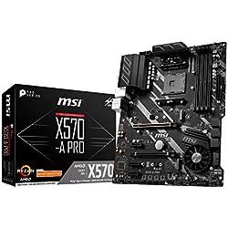MSI X570-A Pro - Placa Base (Chipset AMD X570, DDR4, Core Boost, Intel Lan, Socket AM4, Wi-Fi, Soporta AMD Pocesadores) Color Negro