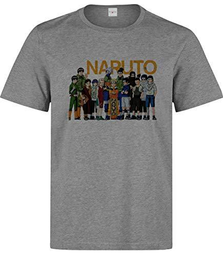 Herren Naruto Alle Charaktere Kunst T-Shirt Grau S