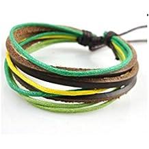 BazarAZ 2370 - [VERDE GIALLO] Bracciale simil Caucciù con Corda - Lunghezza regolabile - Regalo (Verde Diamante Solitario Anello)