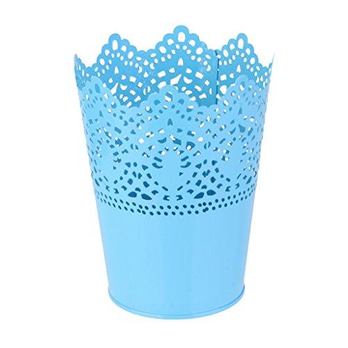 Metall Schneiden Pflanze Vase Topf Stift Make-up Bürstenhalter Schreibtisch Ordentlich Organizer Veranstalter Aufbewahrungskorb - Blau