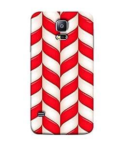 PrintVisa Designer Back Case Cover for Samsung Galaxy S5 :: Samsung Galaxy S5 G900I :: Samsung Galaxy S5 G900A G900F G900I G900M G900T G900W8 G900K (Red and White color pattern design :: Rolling pattern design :: Digital pattern design :: Geometric pattern design :: Nice pattern design)