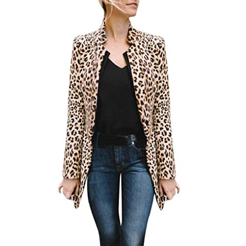 Missoul Women Blazers Coat Ladies Leopard Printed Suit Jackets Casual Cardigan Outwear (A Brown)