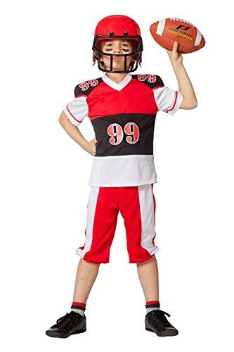 The Fantasy Tailors American Football Spieler Kostüm Kinder Jungen Rot Schwarz Weiß Rugby-Spieler Karneval Fasching Hochwertige Verkleidung Fastnacht Größe 164 Schwarz/Weiß/Rot
