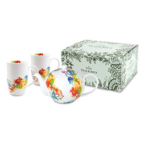 Weimar Tealicious Smoke Tee Set, 3-tlg, Kanne mit Becher, Kaffeebecher, Kaffeekanne, Geschenkidee, Porzellan, 5150001326