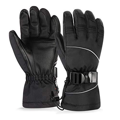 Unigear Skihandschuhe, Top Wasserdicht, Winterhandschuhe, Touchscreen Handschuhe, Ski/Snowboard Handschuhe für Herren und Frauen, MEHRWEG (Schwarz, M)