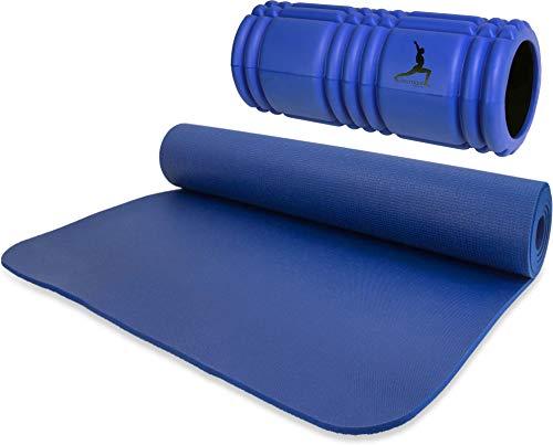 Professionelle Yogamatten für Anfänger und Fortgeschrittene schadstoffgeprüft nach Oeko TEX 100 + FaszienRolle Foam Roller - Fitness, Yoga, Stretching Set Farbe Blau