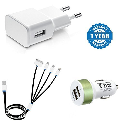 Captcha® Suitable with Samsung Galaxy C9 Pro Fast Charging Travel Adapter, USB 4 in 1 Multi Charging Cable & Dual USB Car Charger