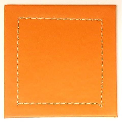Lot de 6dessous-de-verre en similicuir Orange–10x 10cm