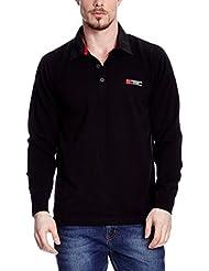 XFORE Jersey de punto de golf con cuello de polo, Reade, color negro