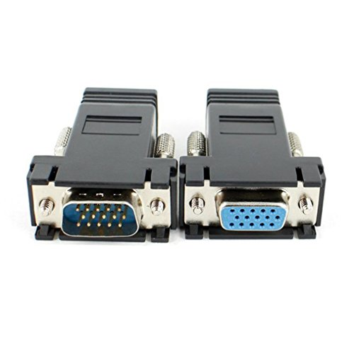 über Cat5 Vga-audio (Tefamore 1 paar VGA Extender männlich weiblich, LAN RJ45 CAT5 CAT6-Kabel Netzwerkadapter)