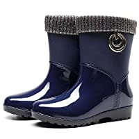 ZWXDMY Wellies,Wellington Ms Blue Round Head Glossy Waterproof Rain Boots Middle Tube Slip Wear-Resistant Ankle Boots Wild Fashion Shoes