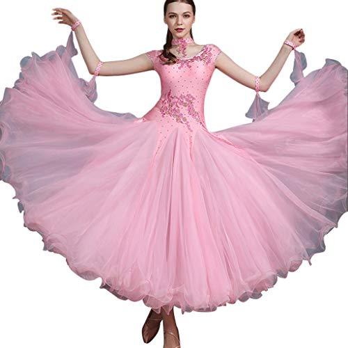 Kostüm Erwachsene Wettbewerbs Für Tanz - JTSYUXT Erwachsene Stickerei Moderner Tanz Kostüm Performance Großes Schwingenkleid Elegant Nationaler Standard Gesellschaftstanz Wettbewerb Kleider (Color : Pink, Size : S)