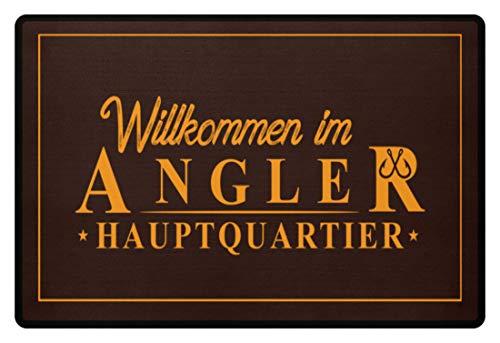 Shirtee Fußmatte - Angler Hauptquatier - Fußmatte -60x40cm-Braun