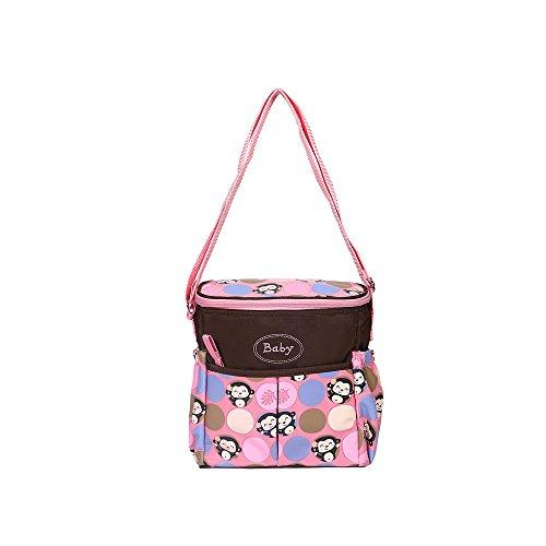 XMDZ Wickeltasche Baby Mama Tasche mit Fächer Damen Multifunktional Nylon Schultertasche Handtasche Verstellbarer Schulterriemen Große Kapazität Cute Affe Rose