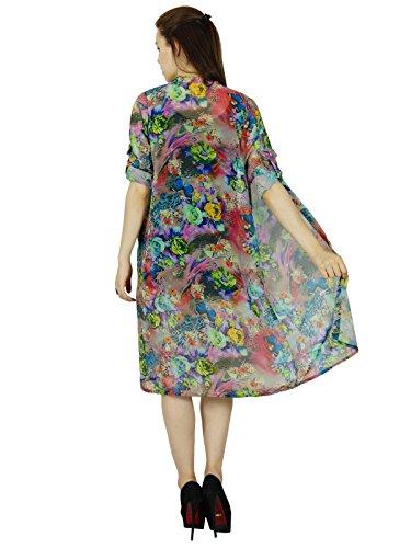 Bimba Longueur Genou Imprimés Haussement Georgette Plage Coverup Top Long Multicolore