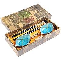 """Abacus Asiatica: set de palillos chinos hechos de madera de gran calidad, diseño """"Panda"""", viene con soporte para los palillos y cuencos de cerámica en una caja de regalo (un par de palillos, dos soportes y dos cuencos), Mod. CBS-S2-G-H01 (DE)"""