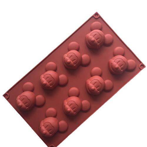 MaylFre Mickey Mouse Silikon-Kuchen-Muffin-Formen Kuchen Bakeware DIY Soap-EIS-Form 8 Cavity Siliconbasis Schokolade Teacake Backblech Zufällige Farbe