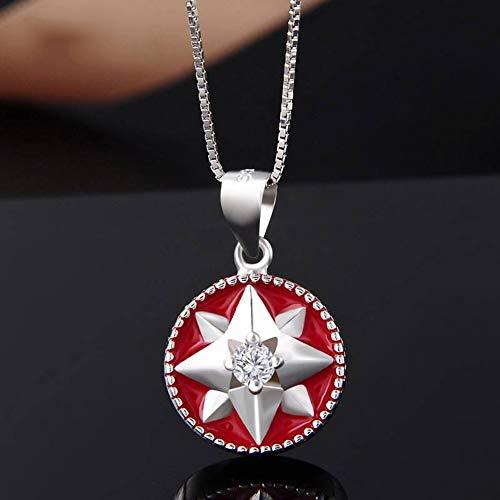 Thumby S925 Sterling Silber Halskette Temperament Eingelegten Zirkon Tropfen Öl Anis Stern Anhänger Weibliche Schlüsselbein Mode-Accessoires, rot, Wie Gezeigt -