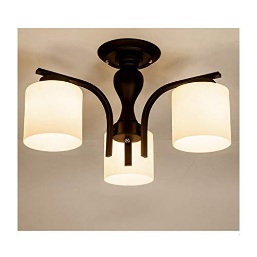 3 Light Semi Flush Kronleuchter (Retro Industriedeckenleuchte Schwarz Schmiedeeisen E27 3-Lights Halter Semi Flush Kronleuchter Pendelleuchte Für Theke Cafe-bar Lampe)