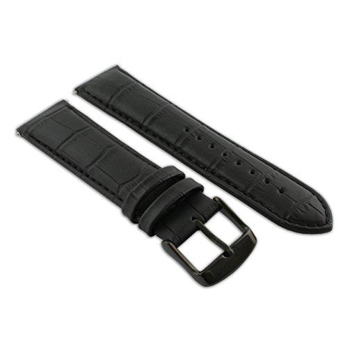 20mm Uhrenarmband schwarz Echt Leder Mock Croc Band Herren Krokodil gepolstert schwarz Schnalle