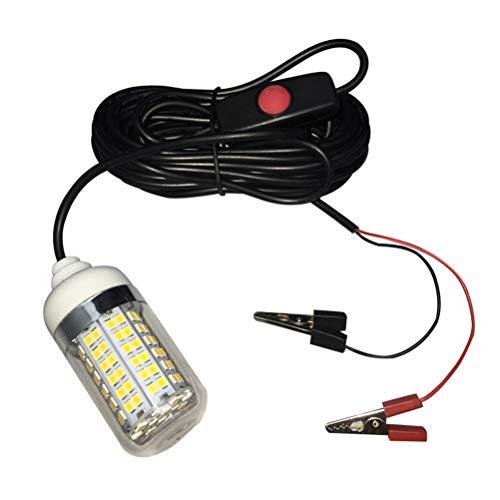 Uonlytech 12 V 108 LED Fisch Attractor Licht Unterwasser Nachtfischen Finder Lampe Super Helle Angeln Licht (Weißes Licht) -