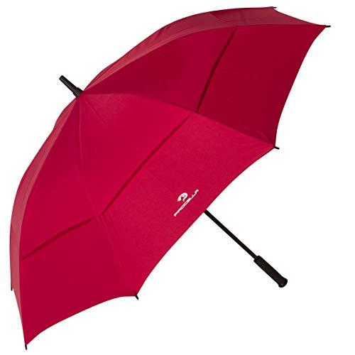 Procella ombrello grande xxl da golf antivento - n.1 arco superiore 157 cm ripara 2-3 persone da pioggia vento sole professionale leggero resistente non deforma o rompe - colore rosso