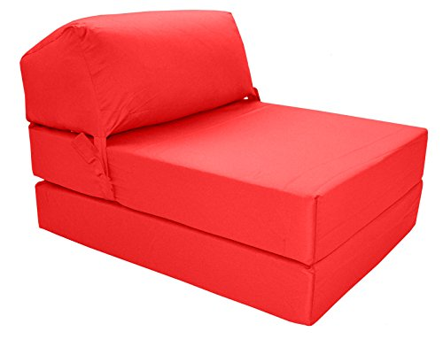 41s1 2hmnSL - Gilda | Futon Z Chair bed (Jazz Cushion) Outland - Single Clean Coated Polyester Fabric With Bounce Back Fibre Blocks (Indoor And Outdoor) (Water And Stain Resistant)(Red)