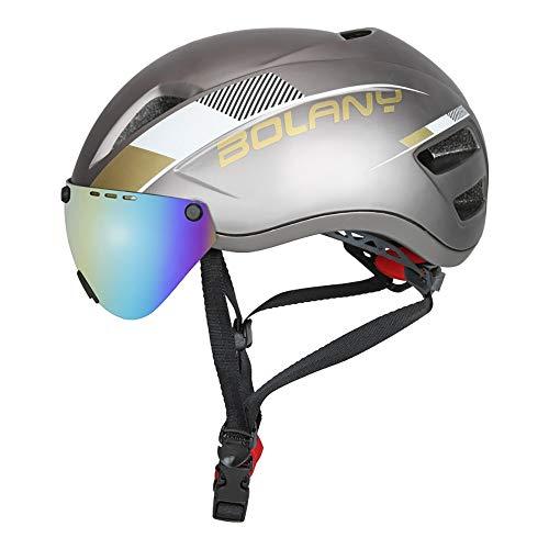 Fahrradhelm, Abnehmbarer Schutzbrille Visor Shield für Männer Frauen Mountain Road Fahrradhelm Einstellbarer Sicherheitsschutz Skateboarding Ski Snowboard