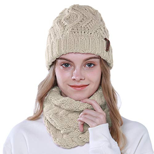 Tacobear 2 Piezas Conjunto de Gorros de Punto de Mujer Calentar Sombrero Mujer y Bufanda Sombrero Punto...