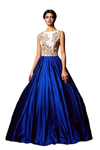 Clickedia-Womens-Bhagalpuri-Silk-Blue-White-Semi-Stitched-Gown