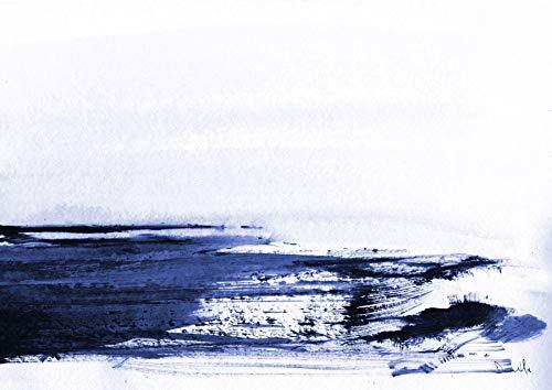Art Maison Canada Abstract Indigo Ocean Leinwand-Wandkunst, Canvas, blau/weiß, 24X30