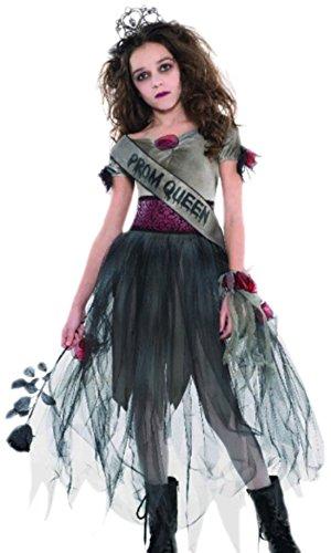 erdbeerloft - Mädchen Zombie Kostüm, Prombie Queen, Halloween, 5-teilig, 14-16 Jahre, Grau