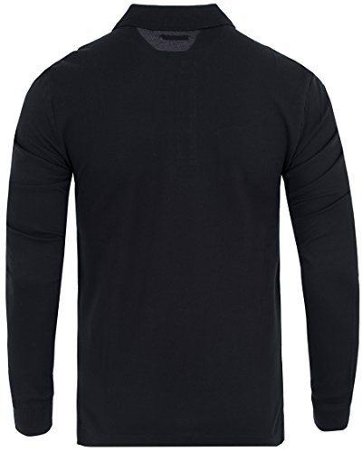 Herren Poloshirt Slim Fit Langarm Schwarz