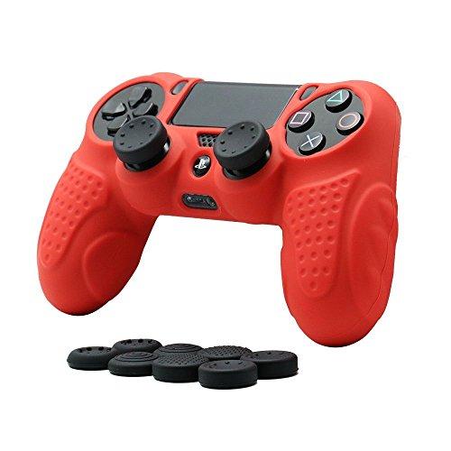 CHINFAI PS4 Controller Schutz-Hülle, Silikon Anti-Rutsch 8 Daumen Griffe Skin Grip Schutzhülle für Sony PS4 / SLIM / PRO Controller(Rot) (Schutz Ps4)
