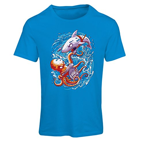 Frauen T-Shirt um die Meere zu beherrschen, Schlacht im Ozean, Octopus vs. Shark, Marine-Outfits (X-Large Blau - Last-minute-halloween-outfits Einfache