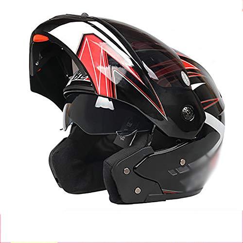 YXDDG Motorrad-modulare integralhelm Flip up dual Visier Sonnenblende,Safe, Gemütlich, Unisex-N 54-60cm (Modulare Helm Dual-visier)
