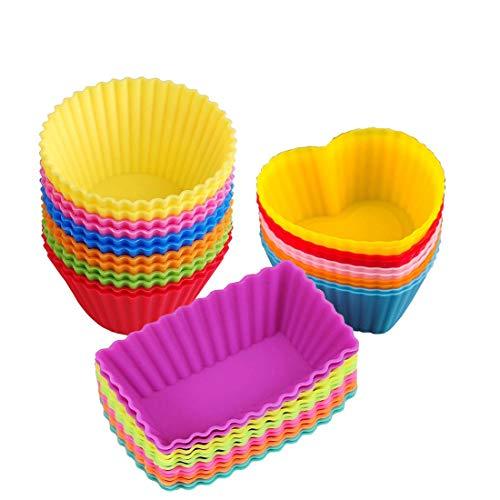 Tazze da forno in silicone per muffin torte stampini riutilizzabile e antiaderente in deposito contenitore -28 pezzi