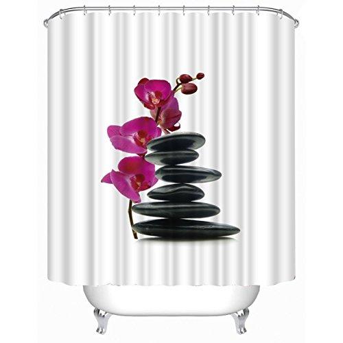 fourHeart Duschvorhang, viele schöne Duschvorhänge zur Auswahl, hochwertige Qualität, inkl. 12 Ringe, wasserdicht, Anti-Schimmel-Effekt (3D schwarze Steine und rot Orchidee, 180 x 200 cm)