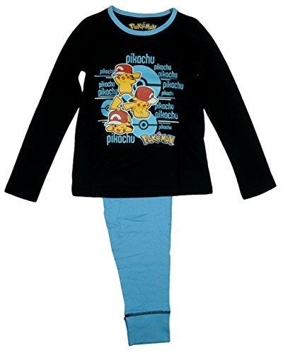Oficial-Nias-Pokemon-Pikachu-Largo-Algodn-Pijama-Negro-tallas-de-3A-10-aos