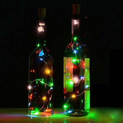 Sonnenlicht Solar Cork Wine Bottle Fairy Light gaddrt 2PCS 2M Sonnenkorken Weinflasche Stopper Kupfer Draht Lichterketten Feenhafte Lampen (Mehrfarbig) - 2 Bottle Stopper