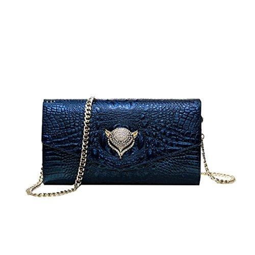 Yy.f Nuovo Ms. Frizione Busta In Pelle Sacchetto Di Frizione Catena Diamantata Sacchetto Di Spalla Di Cuoio Sacchetti Di Sera Sacchetti Multicolore Blue