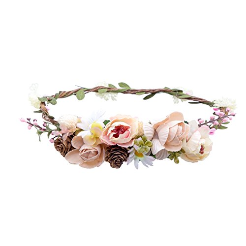 - Blumen-stirnband-licht (Damen Blumen Stirnband Krone - AWAYTR Böhmen Exquisit Pinienkerne Girlande Stirnbänder (Licht khaki+Hell-Pink))