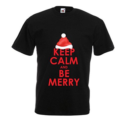 (lepni.me Männer T-Shirt Behalten Sie Ruhe und seien Sie, Weihnachtsferien-Hemd fröhlich (XXXX-Large Schwarz Mehrfarben))