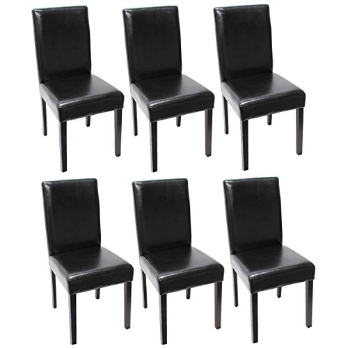 Lot de 6 chaises de séjour Littau, cuir noir, pieds foncés