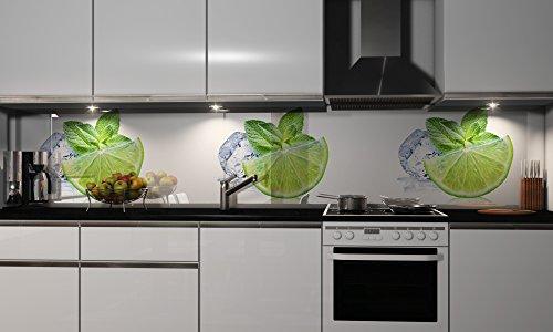 Küchenrückwand-Folie Grüne Zitrone Klebefolie Spritzschutz Küche Fliesenspiegel Möbel Rückwand selbstklebend   mehrere Größen   DIY