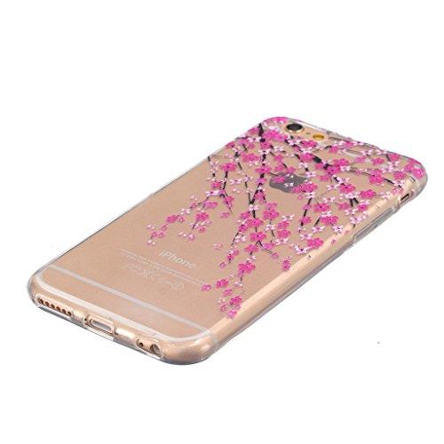 """iphone 6s Coque / iphone 6 -4.7"""" [Clair] MYTH Transparente Housse, Silicone Ultra Mince Doux TPU Étui de Protection Bumper Cover Mignon Dessin animé Fleur de pêche"""