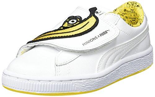 Puma Unisex-Kinder Minions Basket Wrap Statement Leather PS Sneaker, Weiß White Yellow, 33 EU -