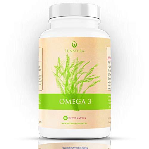 Pflanzliches Omega 3 [KEIN FISCHÖL] - Algenöl hochdosiert - Hoher DHA Anteil - Krillöl vegan - Fettsäuren Omega 3 und 6 Öl und EPA - vegetarisch aus der Mikroalge Schizochytrium - Algenölkapseln - Keine Fischölkapseln (80 Kapseln)