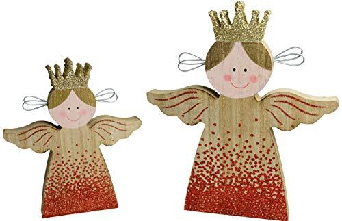 khevga Weihnachtsdeko Deko-Figur Engel Weihnachten Holz rot Gold 2er Set