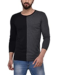 Unisopent Mens Colored Blocked T-shirt With Pocket(Anthra Mlg_Black)
